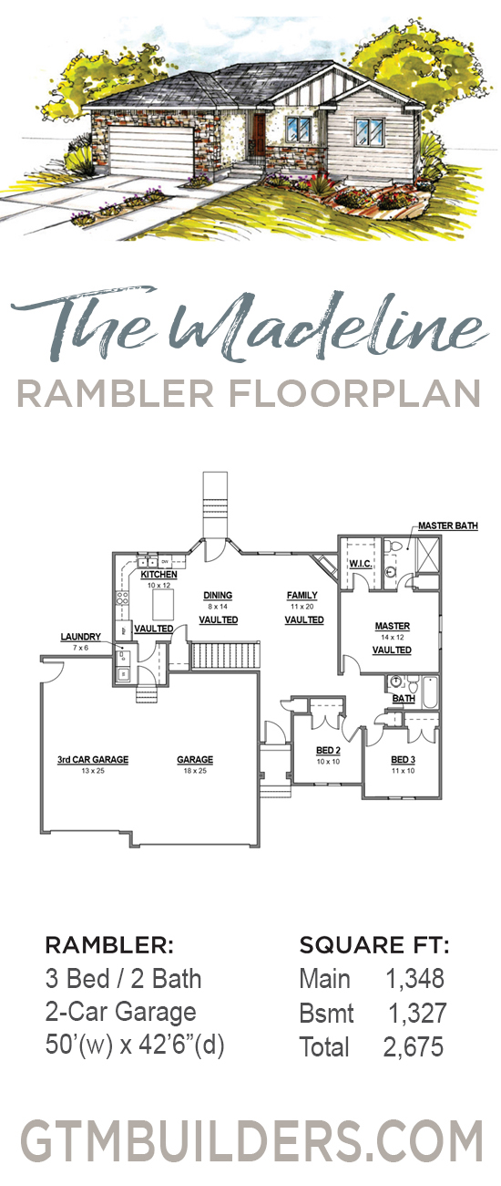 GTM Builders Rambler Madeline floor plan Tooele County on classic home plans, bristol home plans, one-bedroom cottage home plans, sears home plans, standard home plans, cargo home plans, back split home plans, white home plans, hudson home plans, handicap home plans, v-shaped home plans, three story home plans, 28 x 40 home plans, survival home plans, new country home plans, franklin home plans, trailer home plans, 5 bed home plans, mercury home plans, warehouse home plans,